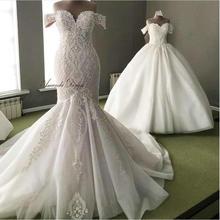 Amanda ออกแบบ bestidos de boda para la novia ปิดไหล่แขนสั้นเมอร์เมดชุดแต่งงาน