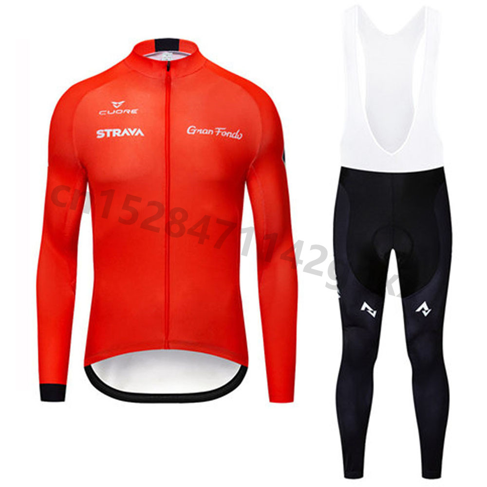 Pro Team STRAVA Spring Cycling Clothing Long Sleeve Men Cycling Jersey Set MTB Road Bicycle Clothes Maillot Ropa Ciclismo