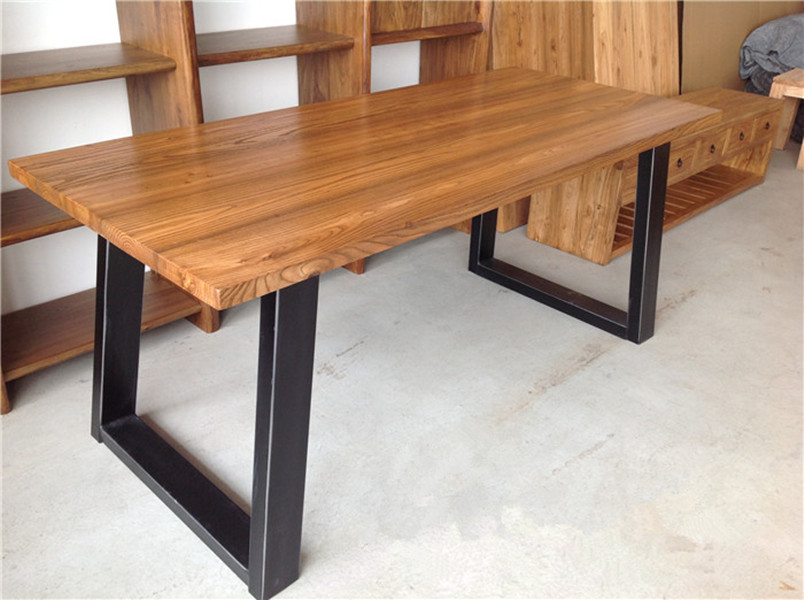 american country wrought iron wood table desk loft pine table desk