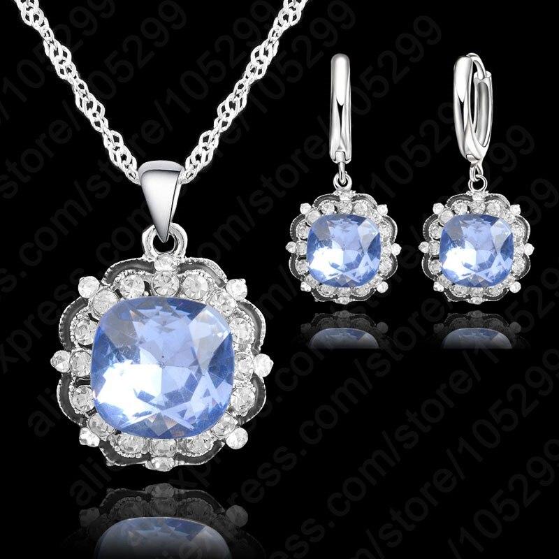 42dacb8257ba PATICO genuino 925 plata esterlina nupcial boda collar pendiente AAAA  compromiso cristalino brillante del Partido de la manera fija