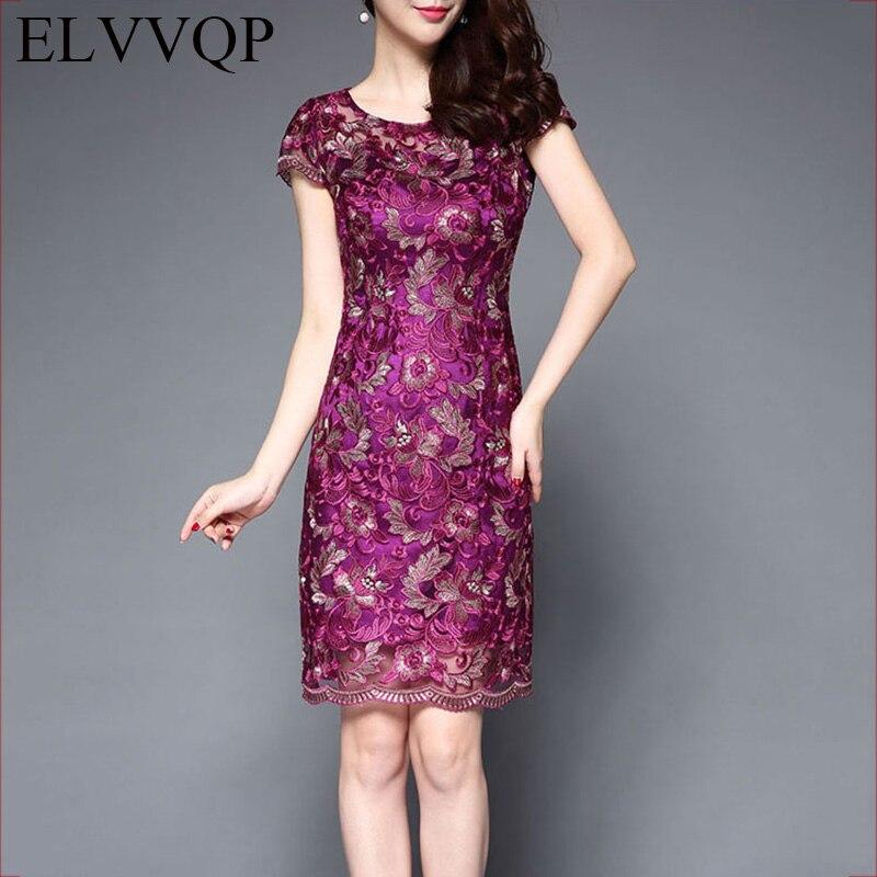 Vintage Elegant Dress Women 2018 New Lace Embroidered Flower Party Dresses Loose Trendy Women Clothes Plus