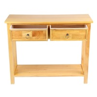 Classic Console Table With 2 Storage Drawer And Shelf Waxed Pine Hallway Home Floor Stand Table Desk Cabinet Home Room Furniture