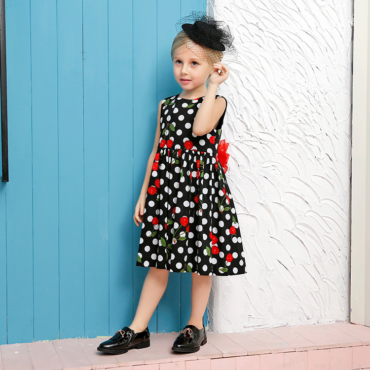 2017 summer in Europe and America dots printing children dress children vest dress girls dress children's clothing