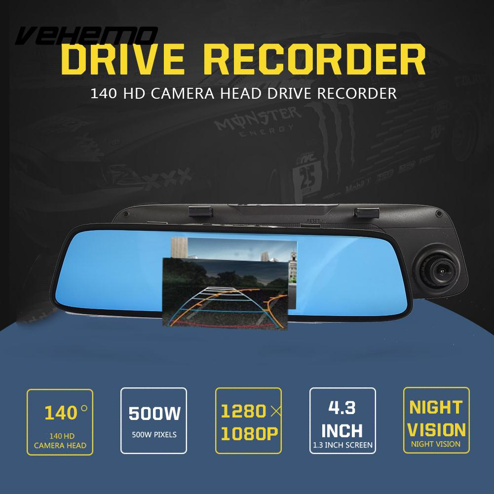 Vehemo HD1080P 4.3 Inch Dash Cam Driving Recorder Car Camera Rearview Mirror Car DVR Loop Recording Vehicle Universal