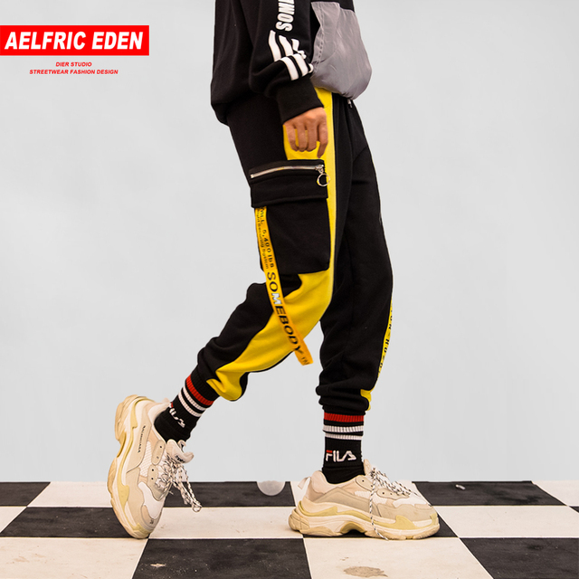 Aelfric Eden Men Ribbons Color Block Letter Print Pocket Cargo Pants 2018 Harem Joggers Harajuku Sweatpant Hip Hop Trousers KJ84