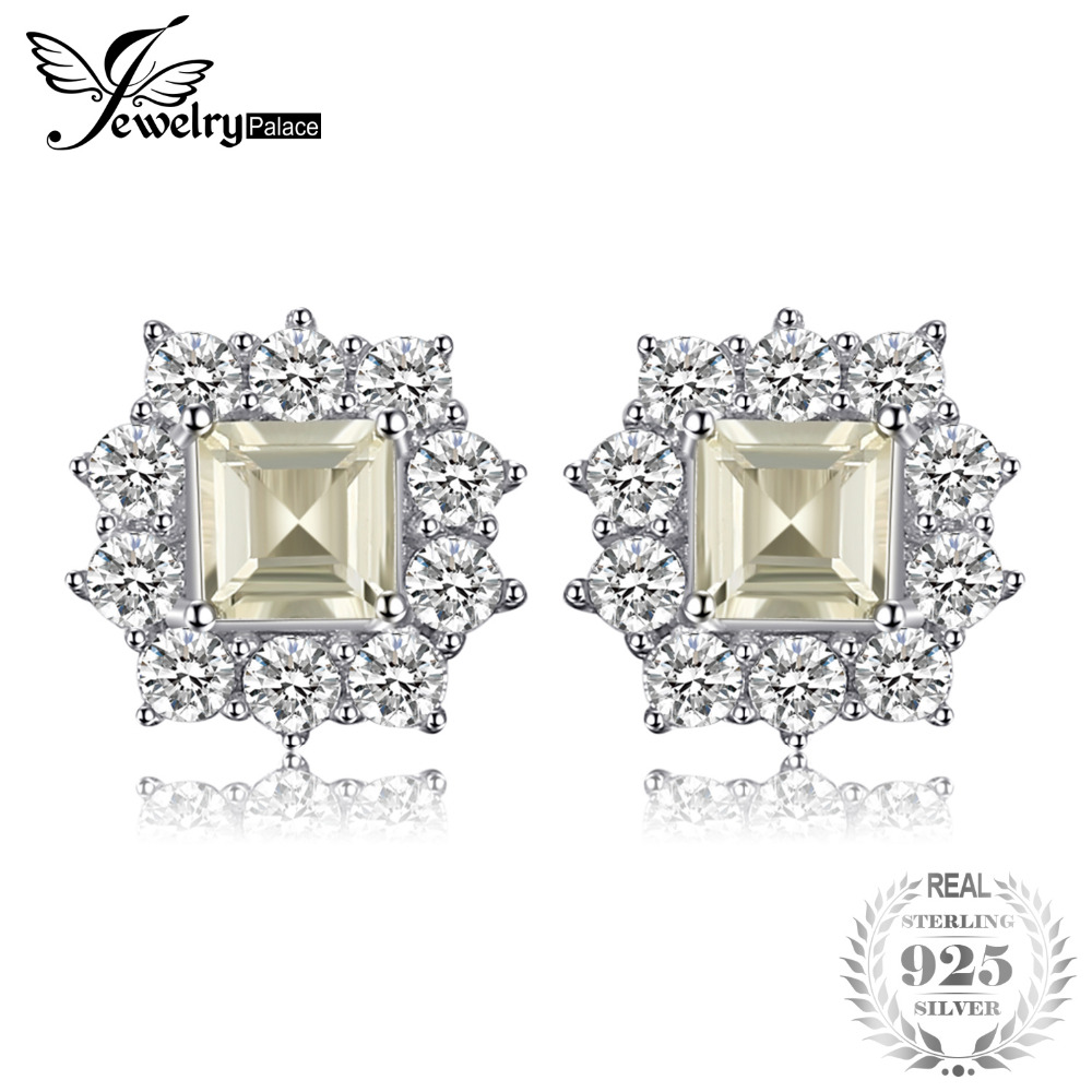 JewelryPalace Classic 1.3 ct Square Natural Lemon Quartz Stud Earrings Real 925 Sterling Silver Earrings For Women Fine Jewelry jewelrypalace 2 55ct natural lemon quartz halo ring stud earrings pendant neckalce chain 45cm 925 sterling silver jewelry sets