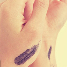 Fashion Waterproof Temporary Tattoo Sticker Female And Male Couple Models Feather Pattern Of Small Fresh Tattoo 1 Sheet