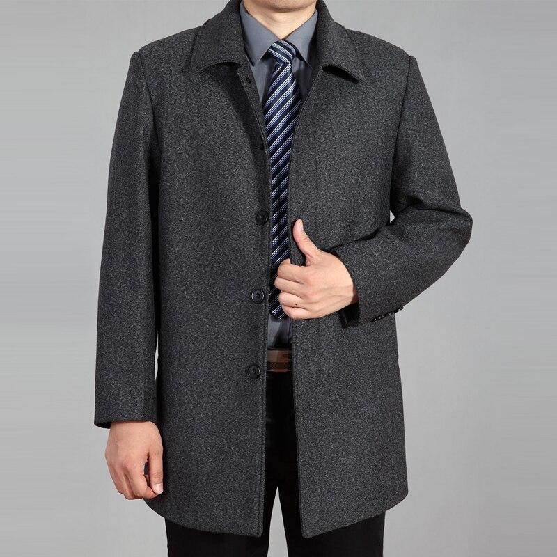 2019 abrigo de lana de alta calidad para hombre otoño invierno abrigo de lana chaqueta de lana abrigo de guisante para hombre abrigo largo de invierno Homme plus tamaño 7XL - 4