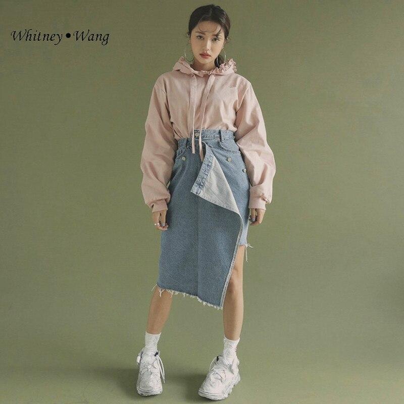 Mujeres Rasgado Mujer Moda Streetwear Denim Primavera Wang Para Asimétrico Estilo Coreano 2019 Verano Faldas Falda Whitney wqZA78T