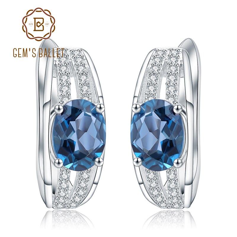 Gem s Ballet 3 15Ct Oval Natural London Blue Topaz Stud Earrings 925 Sterling Silver Gemstone
