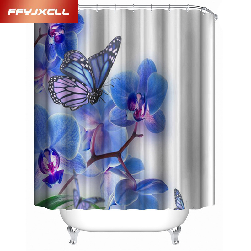 Digital Printing 3D Purple Butterfly Waterproof Mildew Shower Curtain Creative Bathroom Curtain With 12 pcs Hook