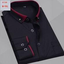 قميص بأكمام طويلة وصل حديثًا موضة كاجوال فضفاضة للرجال من القطن عالي الجودة بمقاسات كبيرة من M 5XL 6XL 7XL 8XL 9XL