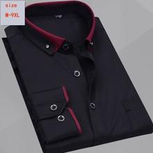 new arrival long sleeve shirt mens loose casual fashion super large cotton hihg quality Plus size M   5XL 6XL 7XL 8XL 9XL