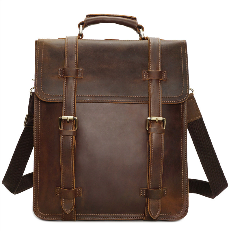 Nesitu High Quality Vintage Brown Thick Durable Genuine Leather Mens Backpack Crazy Horse Leather Male Man Travel Bags M8062Nesitu High Quality Vintage Brown Thick Durable Genuine Leather Mens Backpack Crazy Horse Leather Male Man Travel Bags M8062