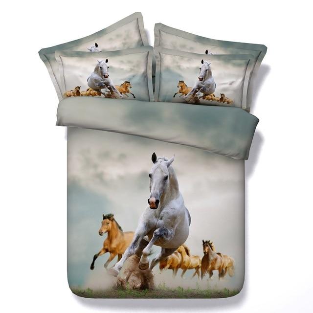 Horse Bedding Set Designer Duvet Cover Bed Sheet California King Queen Size Single Bedspread Sheets