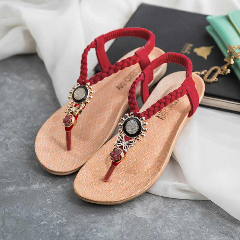 a8bc076049f Summer Shoes Fashion Women Sandals 2019 Flat Sandals Bohemian Flip Flops  Women Shoes Slip-On