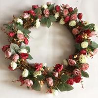 Künstliche Seide Rose Kranz Mit Zweig Basis Türkranz Künstliche Girlande Türverkleidung Garishness Hochzeit Party Decor
