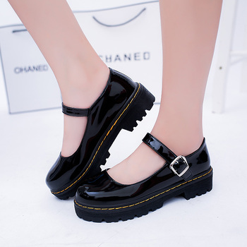 Sweet animeLoveLive Japanese Student Lolita Shoes College Girl Shoes JK Commuter Uniform Shoes PU Leather Shoes cosplay princess sweet lolita shoes loliloliyoyo antaina japanese design shoes custom pink bright pu skin thick heel zip shoes 5193s 1