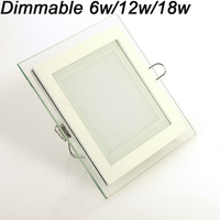 Modern Design With Glass 6W 12W 18W LED Ceiling Recessed Downlight Square Panel Light Kitchen Light