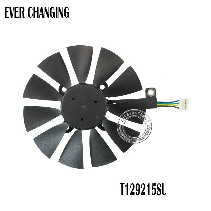 Everflow 87MM T129215SU 4Pin 0.50A Cooling Fan For GTX 980 Ti GTX 1050 1060 1080 1070 <font><b>RX</b></font> 480 <font><b>470</b></font> <font><b>Graphics</b></font> <font><b>Card</b></font> Cooler Fans image