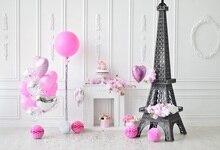 Laeacco Baby Birthday Party Gray Chic Wall Eiffel Tower Balloon Fireplace Portrait Photo Backdrops Photo Background Photo Studio цена