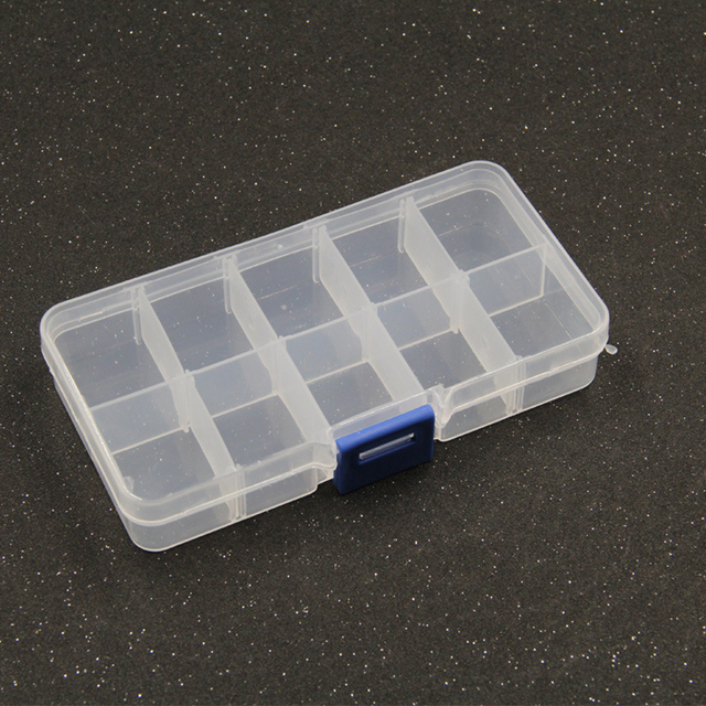 Yidensy 1pcs Square Transparent Plastic Storage Box Case 10/24 Slot Adjustable for Pils Jewelry Beads Earring Case Organizer 4