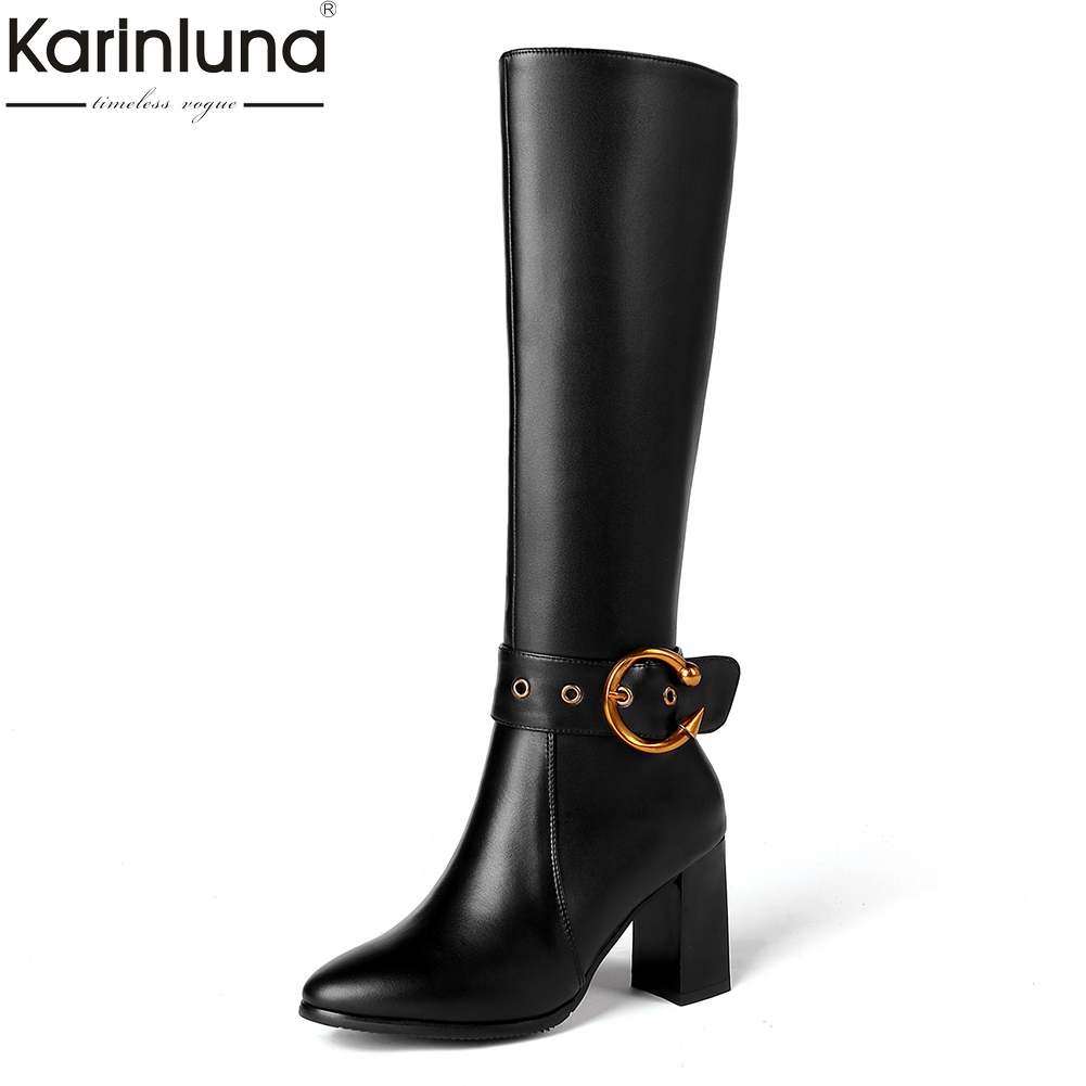 KarinLuna 2018 Genuine Leather Plus Size 31-45 Cow Leather Shoes Women High Heels Sexy Party Boots Woman Shoes Knee High Boots karinluna 2018 top quality size 33 41 brand shoes women knee high boots genuine leather square heels riding boots woman shoes