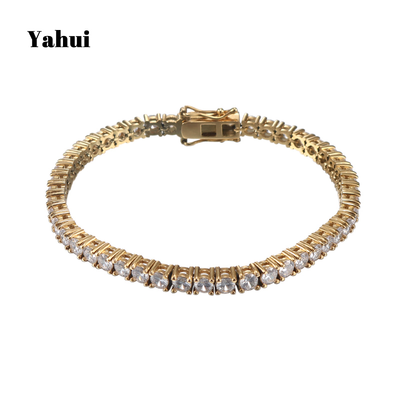YaHui male female Hip Hop Bling Bling Iced Out Tennis Chain 1 Row Necklaces Luxury Brand Gold Color Men Chain Fashion JewelryYaHui male female Hip Hop Bling Bling Iced Out Tennis Chain 1 Row Necklaces Luxury Brand Gold Color Men Chain Fashion Jewelry
