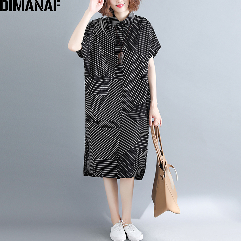 DIMANAF Plus Size Women   Blouse     Shirts   Lady Tops Tunic Summer Female Striped Patchwork Loose Casual Big Size   Shirt   Dress 2019 New