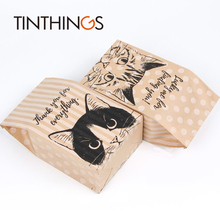 100 Pcs kraft paper gift bag Candy cookies bags packing Wedding home Party birthday packaging cat pattern