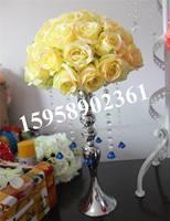 20 cm jaune soie de mariage baisers balle décorations pour le mariage-en plastique intérieure, célébration fleur boule, partie décoration