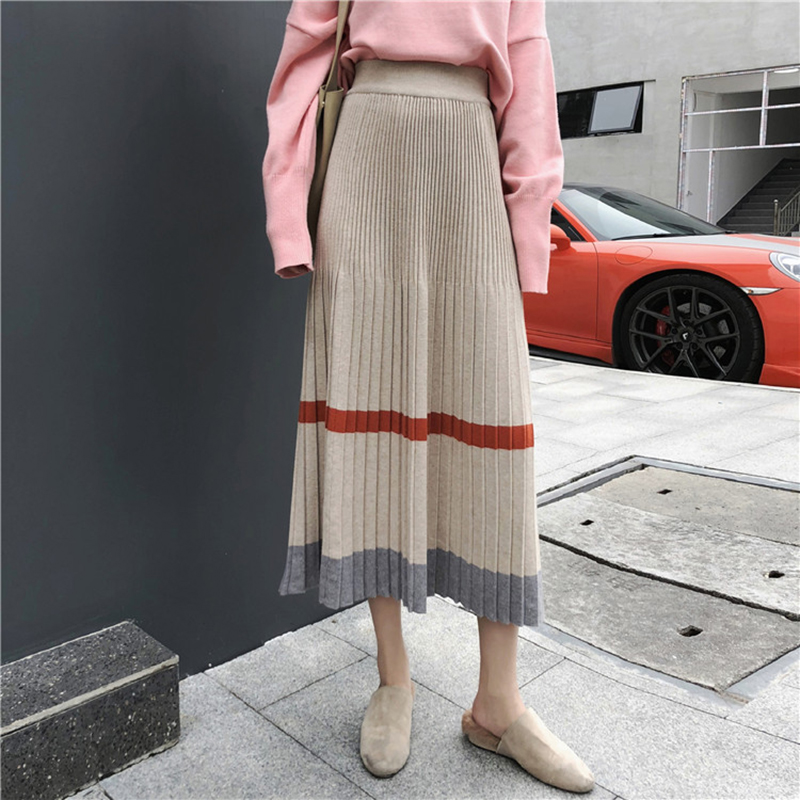 Hit Color Knit Pleated Skirt Winter Autumn Chic Harajuku Kawaii Stripe Elastic Waist Skirt Women Korean Fashion A Line Saia Midi