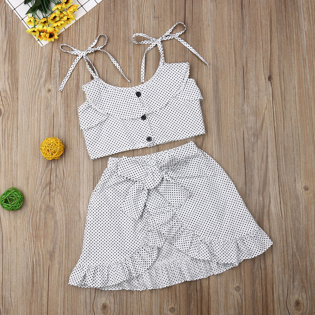 MUQGEW Baby Girl Clothes Toddler Kids Baby Girls Strap Ruffled Dot Tops Irregular Skirts 2PC Sets Dropshipping Roupa Infantil