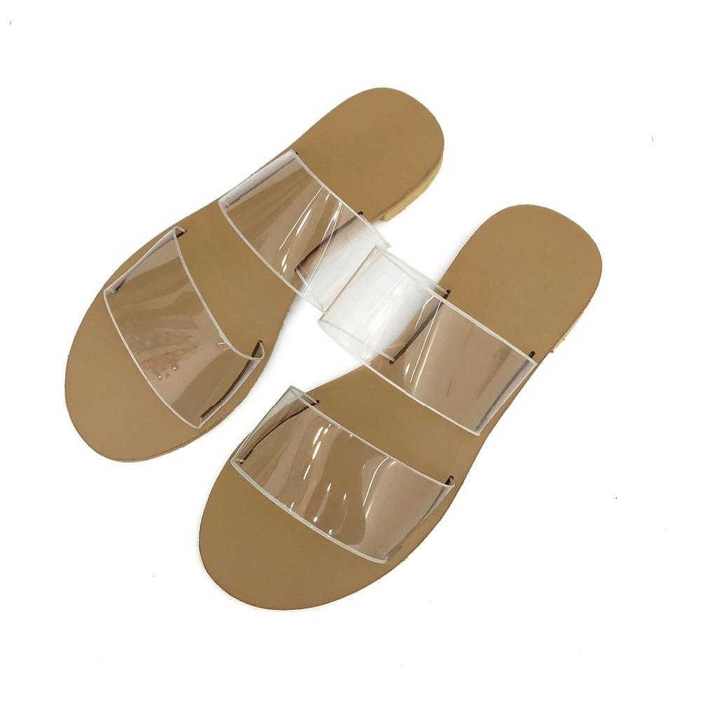 Для женщин мода ПВХ шлепанцы прозрачные тапочки плоская подошва скользит леди Прозрачная обувь черный, белый цвет Размер 35–40