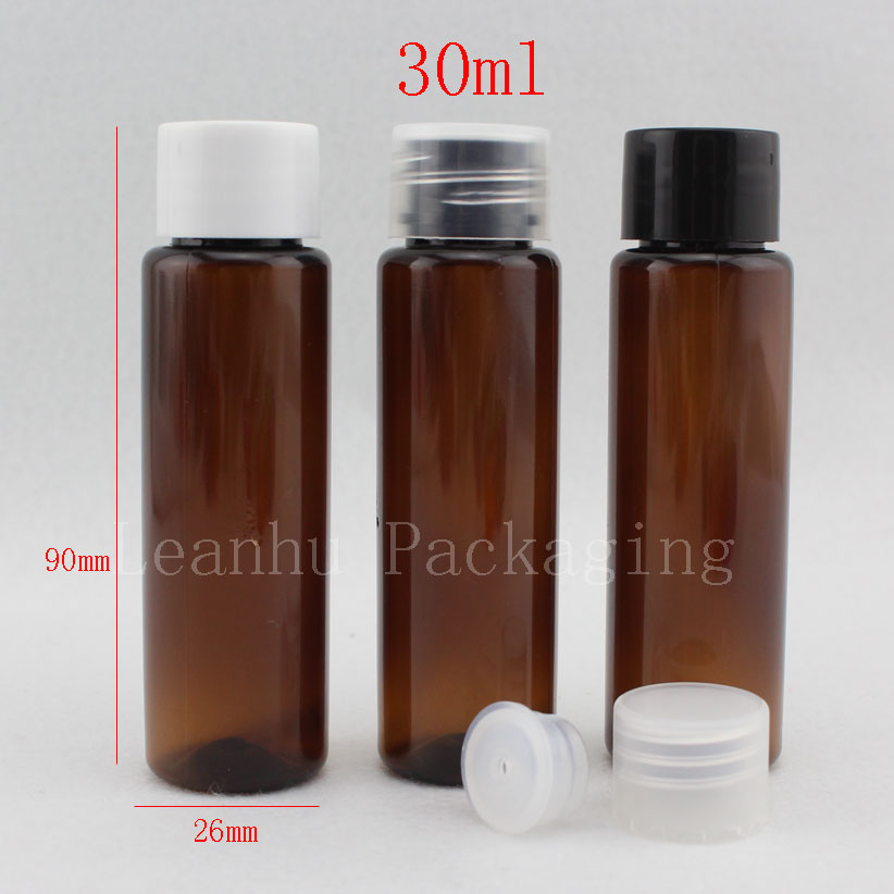 30ml X 100 brown empty small plastic bottle with screw cap 30cc sample amber cream lotion