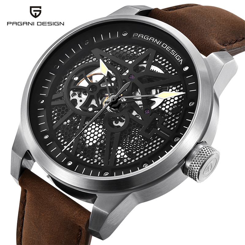 PAGANI DESIGN Brand Luxury Watch Men Automatic Mechanical Skeleton Aviator Waterproof Leather Military Watches Relogio Masculino