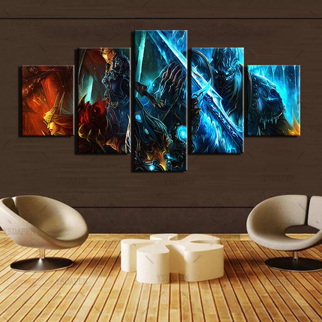 Wall Art Canvas Paintings Living Room Decor 5 Pieces World Of Warcraft Pictures HD Printed Framed Game Warrior Soldiers Posters