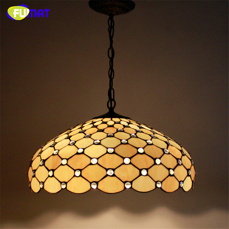 FUMAT Stained Glass Pendant Lamp Big Lampshade Light European Style Suspension Light Restaurant Lamp Hotel Lights Fixtures fumat stained glass pendant lights garden art lamp dinner room restaurant suspension lamp orchids rose grape glass lamp lighting