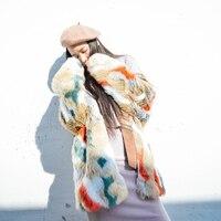 Новое поступление 2018 Винтаж с шарфом Разноцветные длинные искусственный мех пальто для женщин