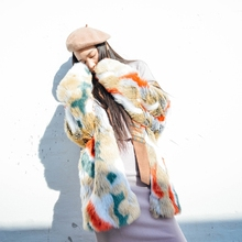 New Arrival 2018 vintage with scarf multi colored long faux fur coat women