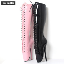 jialuowei Women 18cm/7″ Spike High Heel Sexy Fetish BALLET Black Knee-high Boots lace-up BDSM plus size unisex boots Plus size
