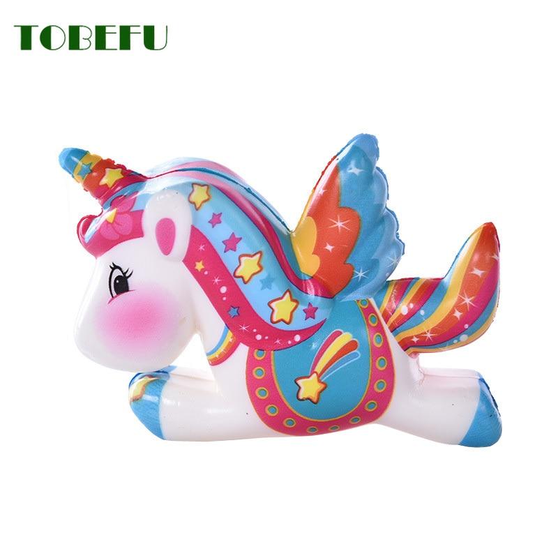 TOBEFU Pegasus Unicorn Squishy PU Squishy Slow Rising Scented Bread Squeeze Toys Simulation Craft Decor Kids Gift