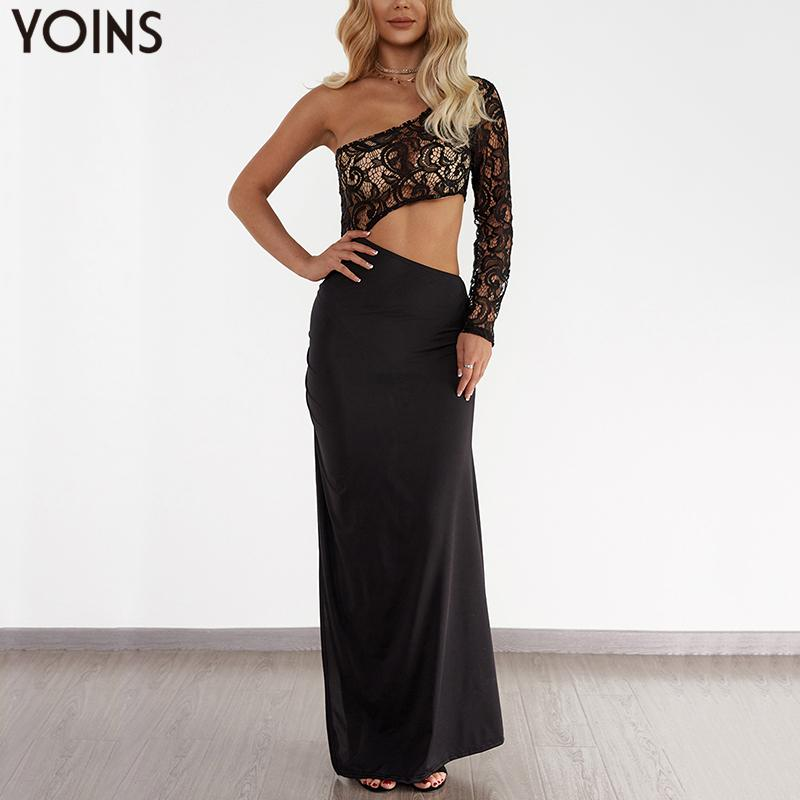 Кружевное платье с одним плечом YOINS, женское асимметричное платье с длинными рукавами и высоким разрезом, Клубное длинное пляжное сексуальн...