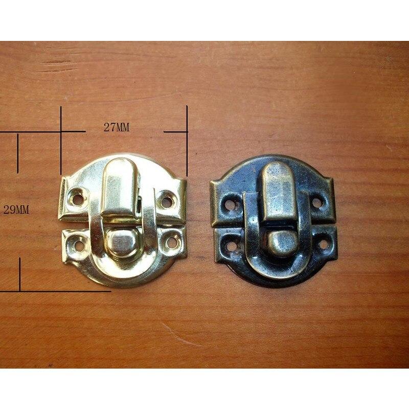 Wholesale Locks Antique Iron Jewelry Box Padlock Hasp Locked Wooden Wine Gift Box Handbag Buckle Hardware