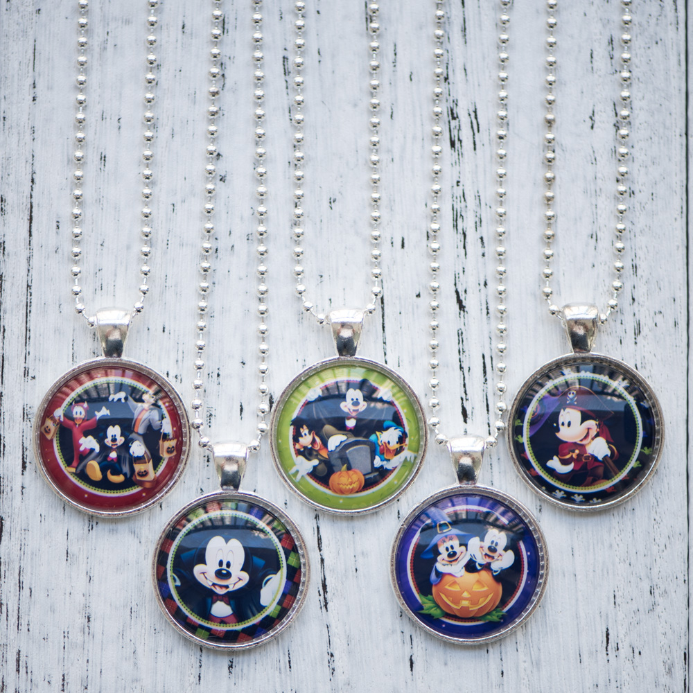 Glass Cabochon Necklace Minnie Mouse Mickey Donald Duck Pendant Necklace Handmade Women Jewelry Halloween Theme Gifts 10pcs/lot