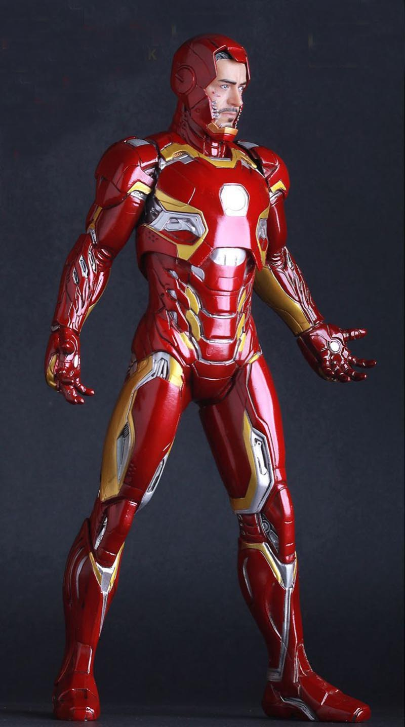 Superhero Ironman Mark XLV Limited Edition Iron Man Action Figure PVC Doll Anime Collectible Model Toy 25cm xinduplan marvel shield iron man avengers age of ultron mk45 limited edition human face movable action figure 30cm model 0778