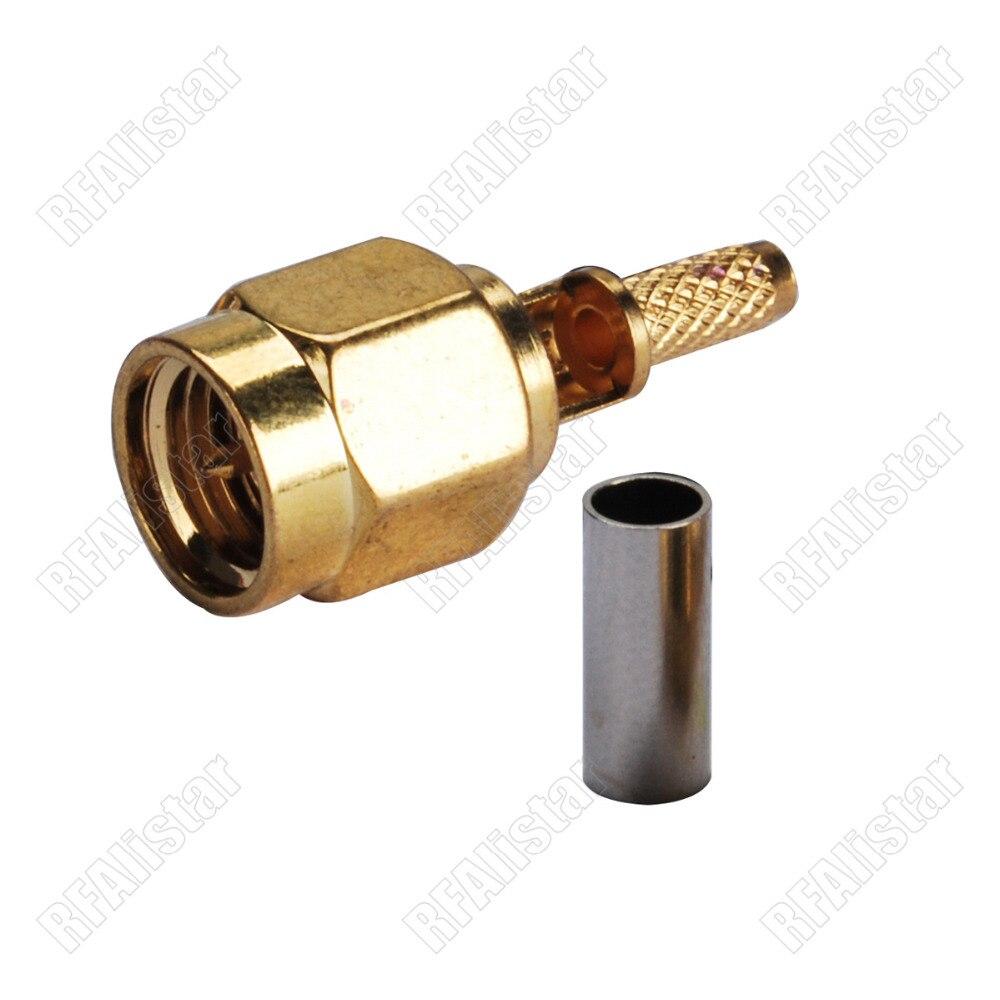2 peças SMA Plugue Macho Cravar Para RG178 RG316 1.13 milímetros De Solda Cabo Conector RF Reta