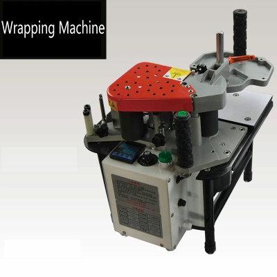 Portable hand adjustable speed double-sided adhesive double plastic shaft straight edge banding machine edge wrapping machine