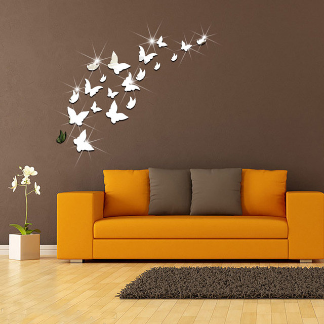 Buy fashion 3d acrylic butterfly mirror for Creative room decor
