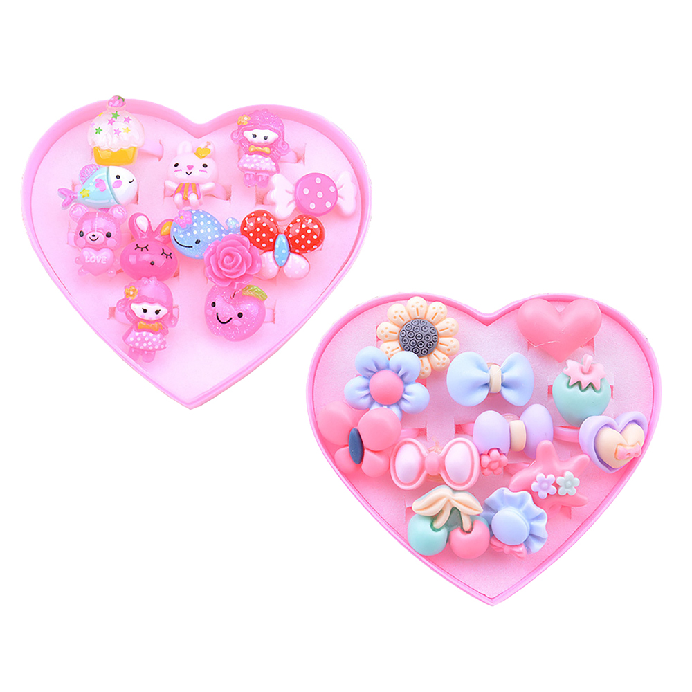 12 Pcs box Fancy Plastic Adjustable Gem Rings Princess Party Favors Pretend Play Kids Toys for Girls Children Birthday Gifts